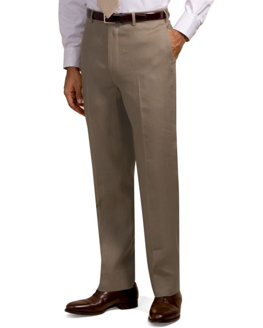 Brooks Brothers | Brown Irish Linen Plain-front Trousers for Men | Lyst