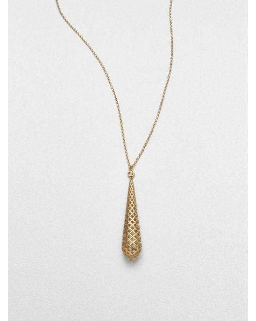 Gucci | Metallic Diamantissima 18k Yellow Gold Teardrop Pendant Necklace | Lyst
