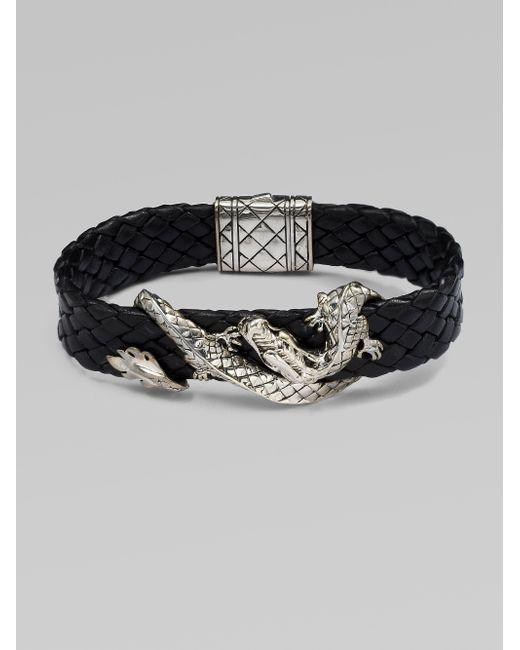 John Hardy | Black Silver Dragon & Leather Bracelet/brown | Lyst