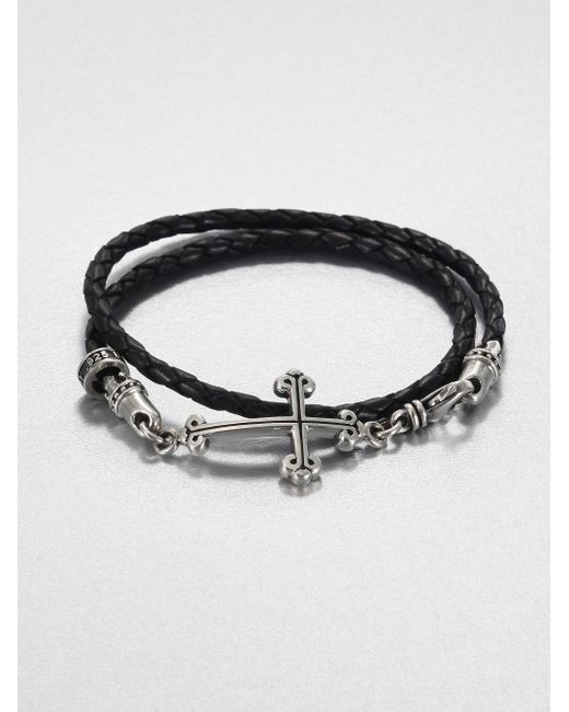 King Baby Studio | Black Cross Double-wrap Leather Bracelet for Men | Lyst