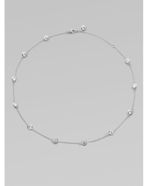 Adriana Orsini | Metallic Bezel-set Stationed Necklace | Lyst