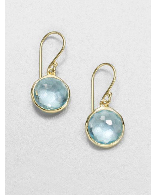 Ippolita | Lollipop Blue Topaz & 18k Yellow Gold Mini Drop Earrings | Lyst