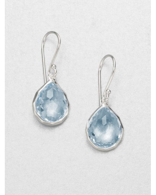 Ippolita Blue Topaz Sterling Silver Teardrop Earrings In