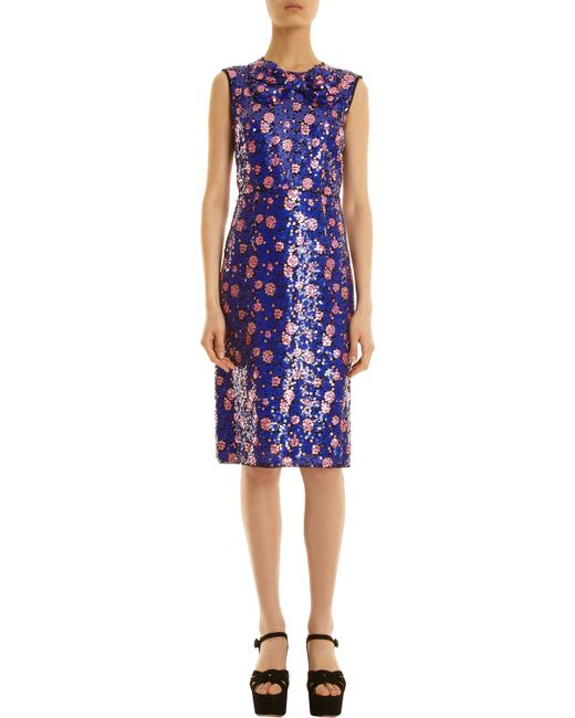 Marc Jacobs | Blue Plaid Cotton-blend Ruffled Dress | Lyst