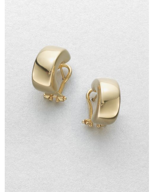 Roberto Coin | Metallic 18k Yellow Gold Huggie Hoop Earrings/0.7 | Lyst