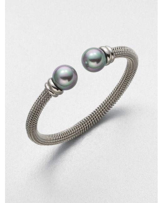 Majorica | Metallic 12mm Grey Round Pearl Tipped Bracelet | Lyst