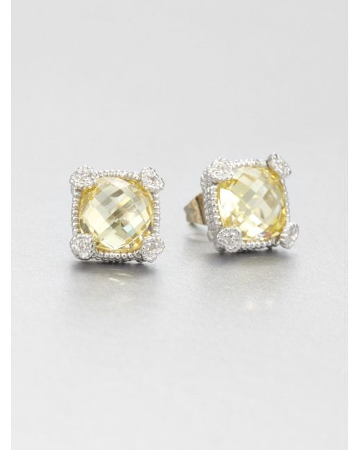 Judith Ripka | Yellow La Petite Canary Crystal & Sterling Silver Cushion Stud Earrings | Lyst