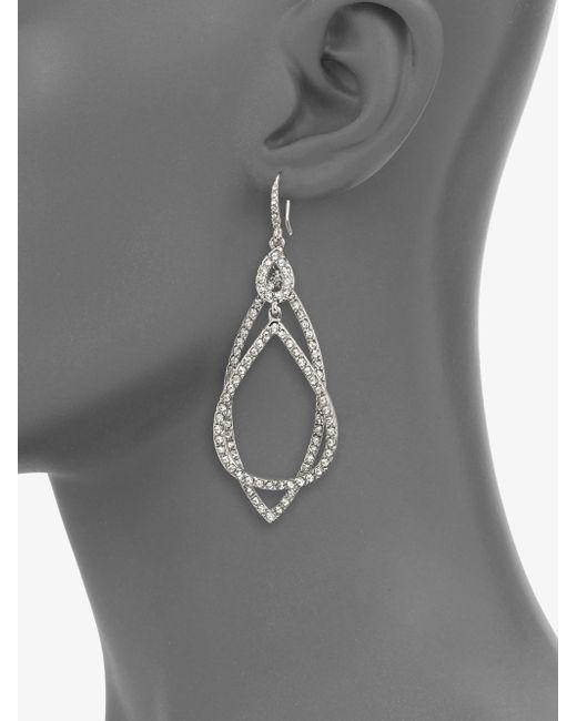 ABS By Allen Schwartz | Metallic Pave Double Loop Earrings | Lyst