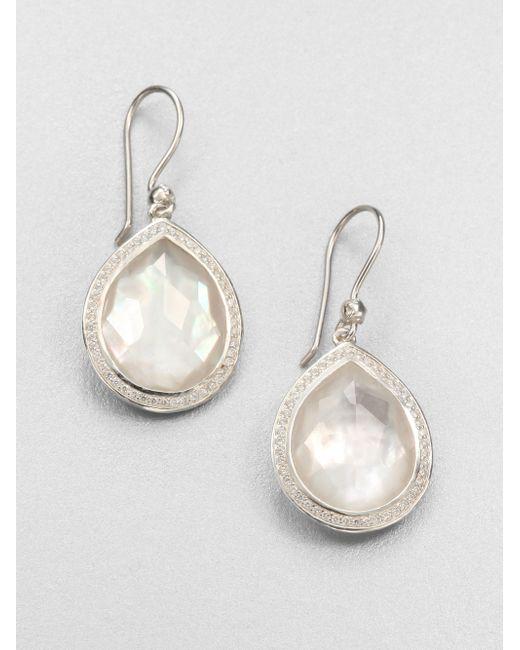 Ippolita | Metallic Mother-of-pearl Doublet, Diamond & Sterling Silver Drop Earrings | Lyst