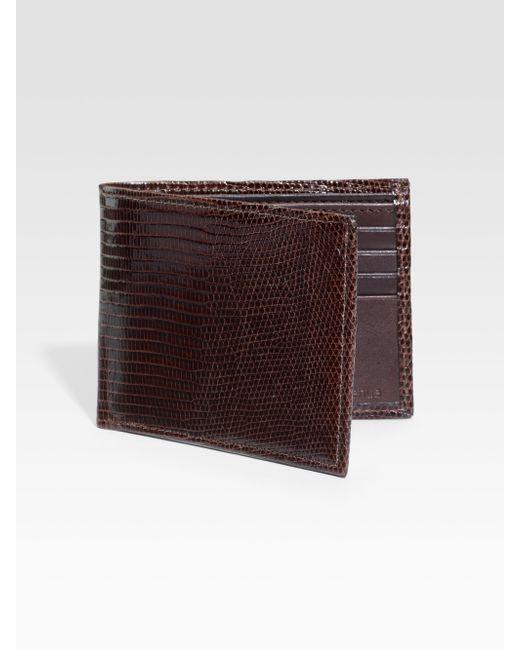 Saks Fifth Avenue | Brown Lizard Billfold Wallet for Men | Lyst