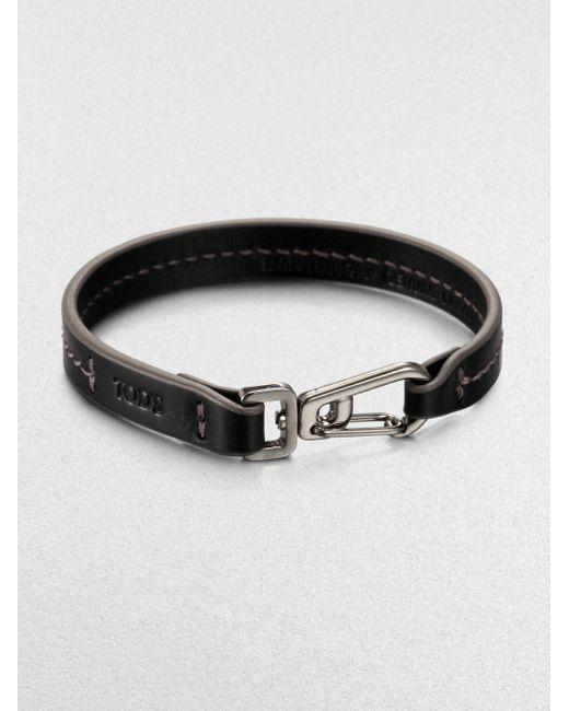 Tod's | Black Marina Topstitched Leather Bracelet for Men | Lyst