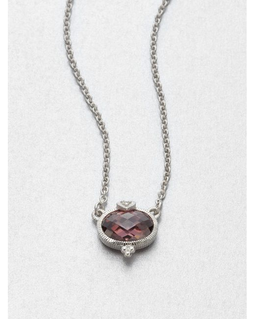 Judith Ripka | Red La Petite Raspberry Crystal & Sterling Silver Pendant Necklace | Lyst