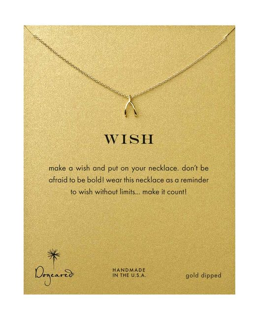 Dogeared | Metallic Gold Plated Teeny Wishbone Necklace - Gold | Lyst