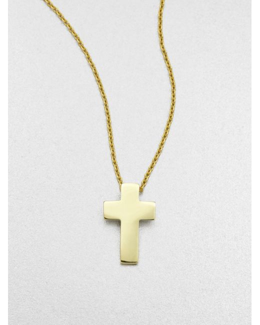 Roberto Coin | White Tiny Treasures 18k Yellow Gold Cross Pendant Necklace | Lyst