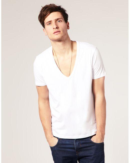 Asos t shirt with deep v neck in white for men lyst for Best white v neck t shirt