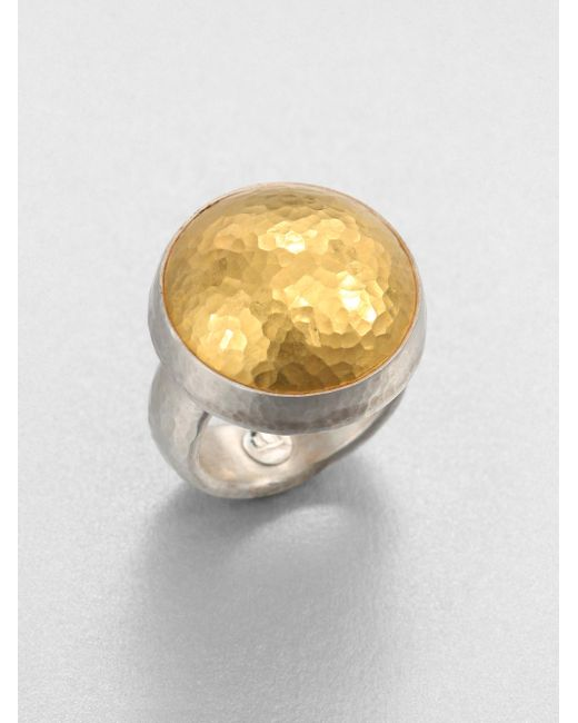 Gurhan | Metallic Amulet 24k Yellow Gold & Sterling Silver Dome Ring | Lyst