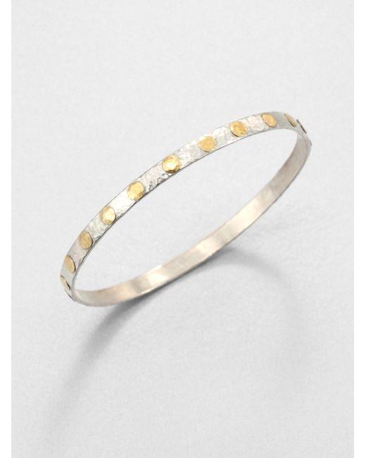 Gurhan | Metallic Edifice 24k Yellow Gold & Sterling Silver Midnight Dot Bangle Bracelet | Lyst