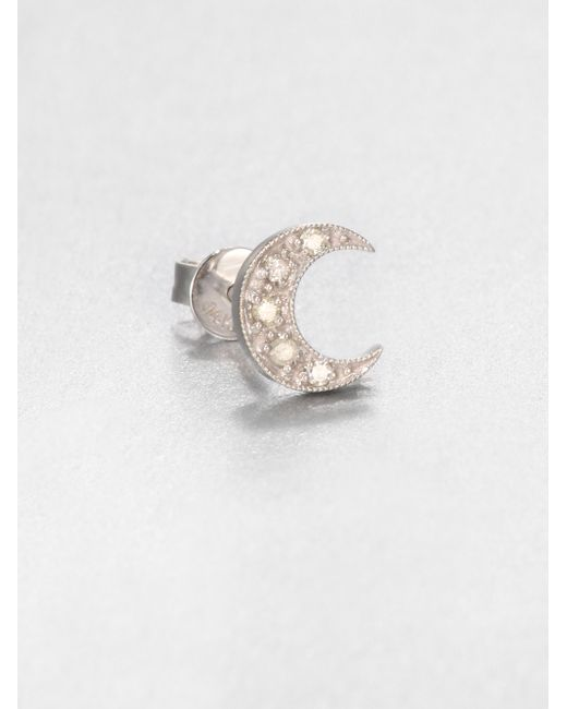 Sydney Evan | Diamond & 14k White Gold Crescent Moon Single Stud Earring | Lyst