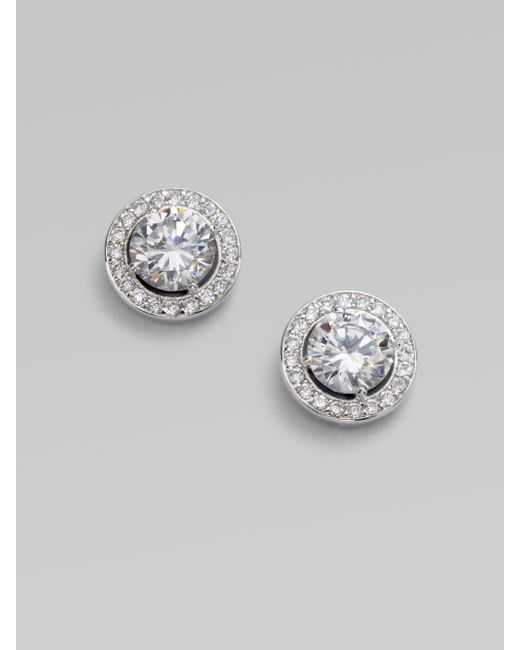 Adriana Orsini | Metallic Sterling Silver Round Framed Stud Earrings | Lyst
