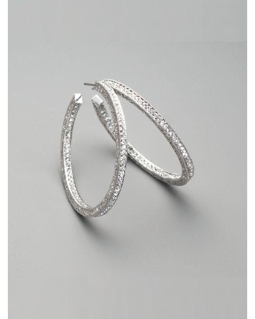 Adriana Orsini   Metallic Pave Crystal Hoop Earrings/1.5   Lyst