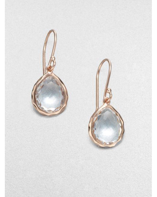Ippolita | Pink Rose Rock Candy Clear Quartz Teeny Teardrop Earrings | Lyst