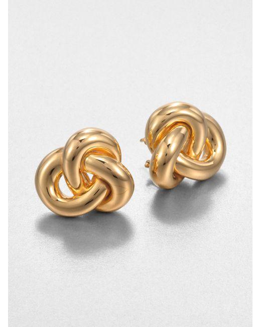 Roberto Coin | Metallic 18k Yellow Gold Knot Earrings | Lyst