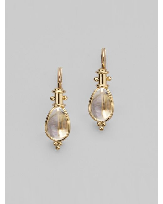 Temple St. Clair | Metallic Classic Rock Crystal & 18k Yellow Gold Amulet Drop Earrings | Lyst