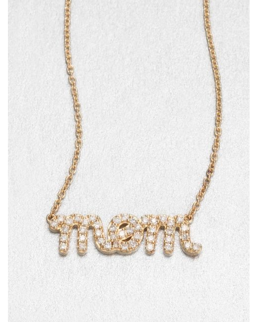 Sydney Evan | Metallic Diamond & 14k Yellow Gold Mom Necklace | Lyst
