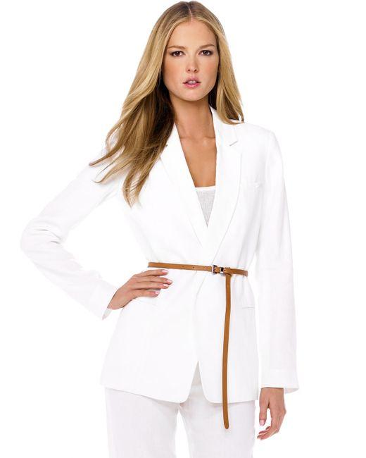 Michael Kors   White Belted Linen Jacket Ribbed Tank Linen Pants   Lyst