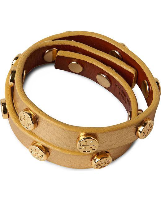 Tory Burch | Metallic Leather Wrap Bracelet | Lyst