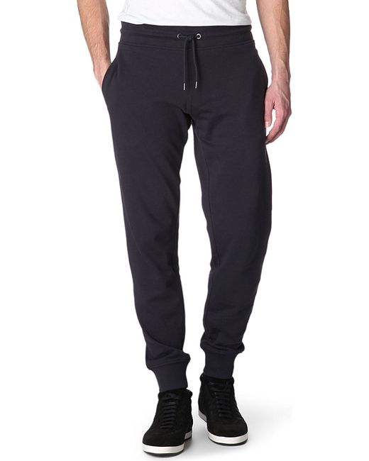 Armani Jeans | Blue Embroidered-logo Cuffed Jogging Bottoms for Men | Lyst
