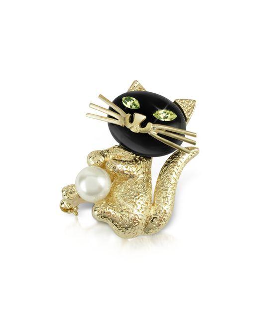 AZ Collection | Metallic Green-eyed Cat Pin | Lyst