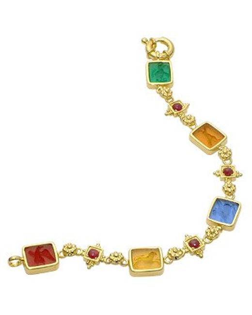 Tagliamonte | Metallic Classics Collection - 18k Gold And Ruby Link Bracelet | Lyst