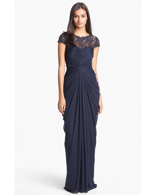 Adrianna Papell   Blue Lace Yoke Drape Gown   Lyst
