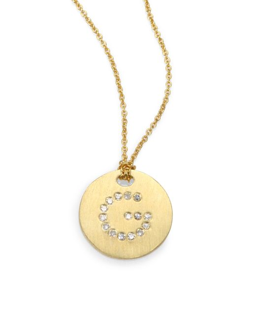 Roberto Coin   Metallic Tiny Treasures Diamond & 18k Yellow Gold Initial Pendant Necklace   Lyst