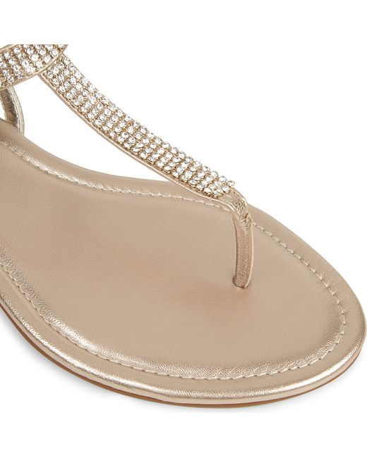 Dune Nea Embellished Leather Sandals In Beige Tan Leather