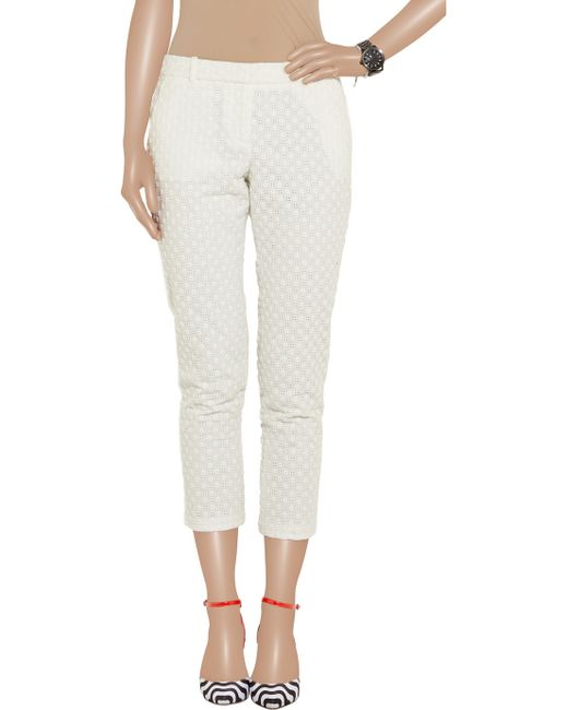J.crew Café Embroidered Eyelet Capri Pants in White - Save 29% | Lyst