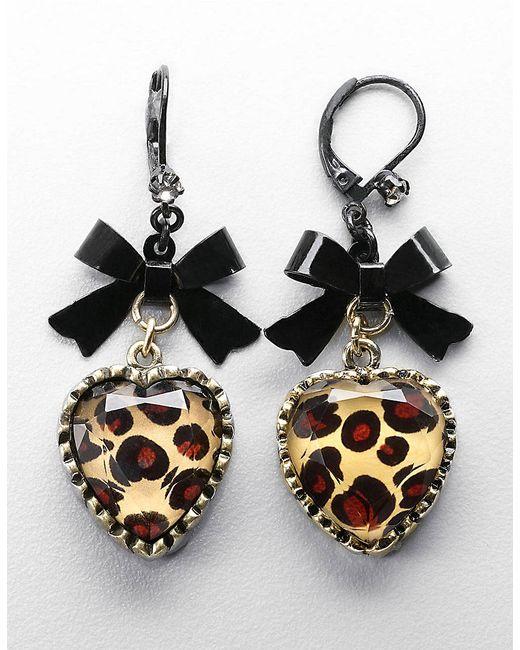 Betsey Johnson | Metallic Leopard-print Heart And Bow Drop Earrings | Lyst