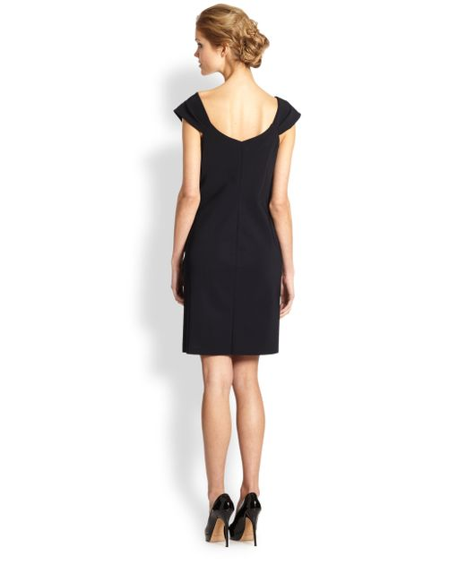 Teri Jon By Rickie Freeman Asymmetrical Neckline Dress In