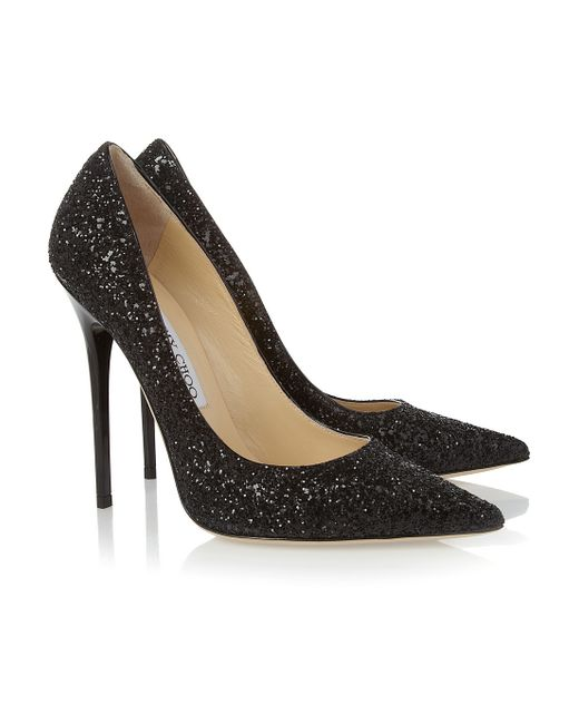 jimmy choo anouk glitter finished leather pumps in black save 60 lyst. Black Bedroom Furniture Sets. Home Design Ideas