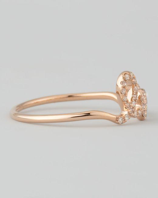 Sydney Evan | Metallic 14k Rose Gold Diamond Love Script Ring | Lyst