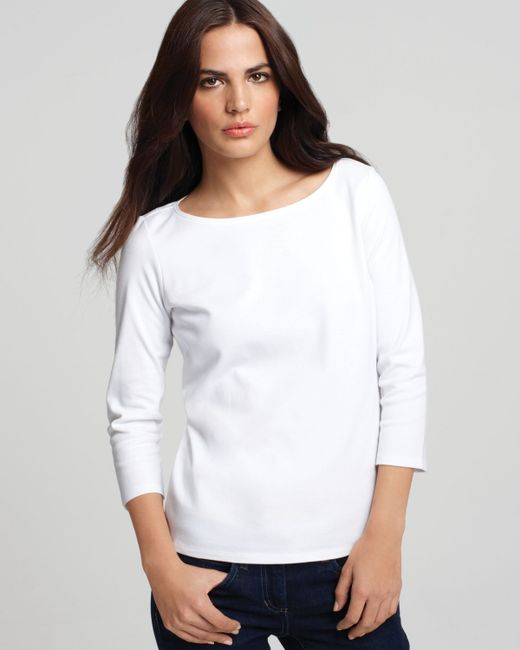 Eileen Fisher | White ' Boatneck Tee | Lyst