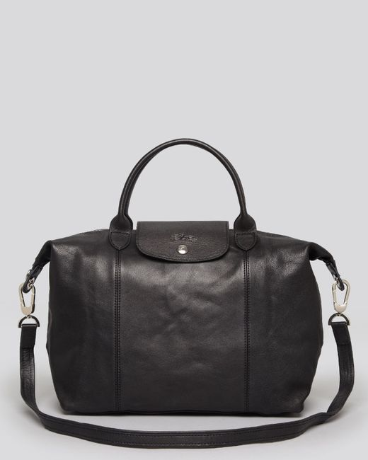 Longchamp | Black Le Pliage Cuir Medium Satchel | Lyst