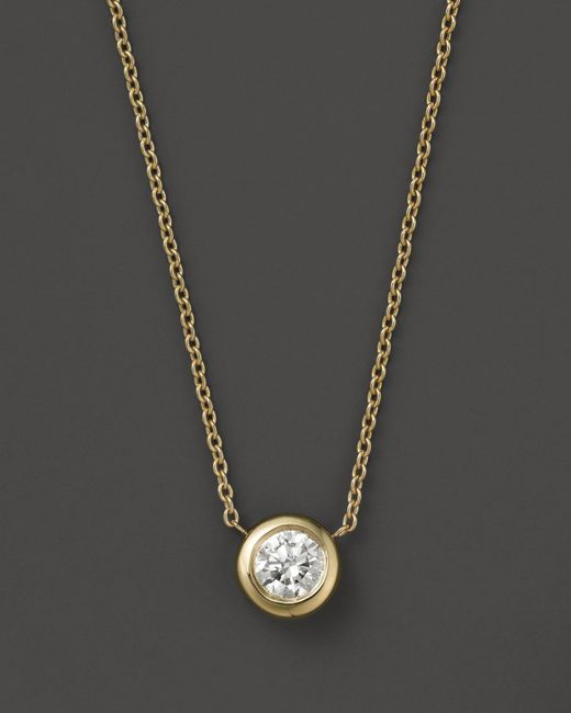 Roberto Coin | 18k Yellow Gold Diamond Bezel Pendant Necklace, 0.24 Ct. T.w. | Lyst