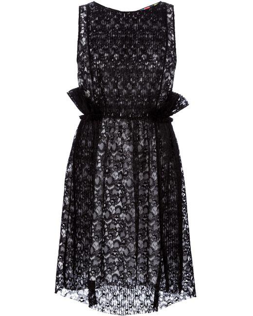 MSGM | Black One Shoulder Printed Mini Dress | Lyst