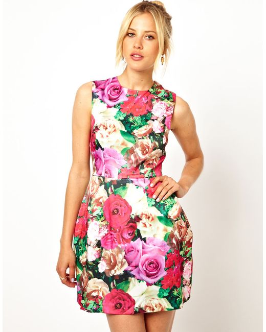 ASOS | Multicolor Structured Floral Tulip Dress | Lyst