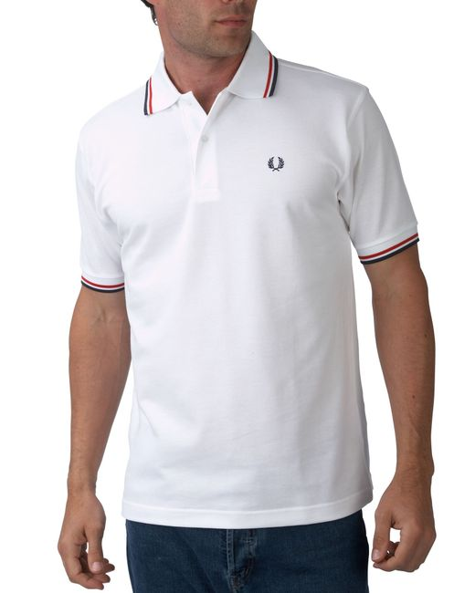 Fred Perry | White Short-sleeved Twin Tipped Polo Shirt for Men | Lyst