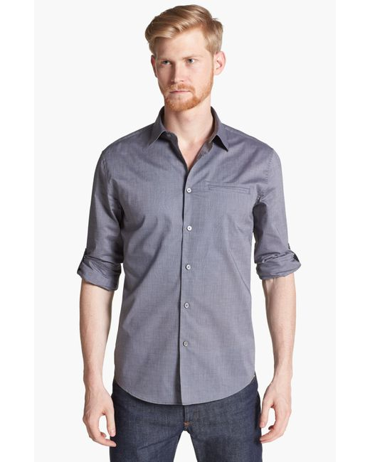 John Varvatos | Gray Slim Fit Cotton Woven Shirt for Men | Lyst