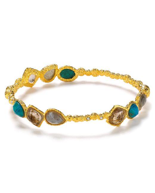Alexis Bittar   Metallic Cordova Small Chrysocolla Encrusted Bracelet   Lyst