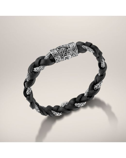John Hardy | Black Leather And Silver Braided Bracelet for Men | Lyst